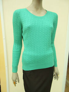 H-amp-M-Womens-Jade-Green-Fine-Cable-Knit-Long-Sleeved-Jumper-size-M