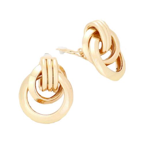 Ohrclips Clips Clip Creolen Kreolen Ohrringe Knoten Gold Glatt Glänzend 3 cm lan
