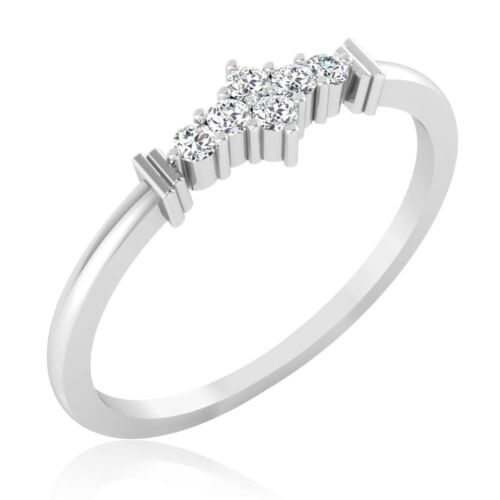 0.11 Carat Round Cut Diamond Rings White Gold Finish Valentine Day Rings Size 4