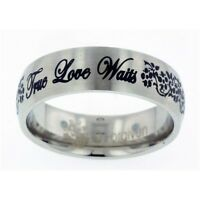 True Love Waits (cursive) With Flowers Womans Steel Fashion Ring Size 5-10