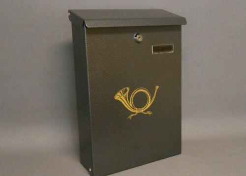 Stiehler Metall Briefkasten 180SI Reihbar 270x370mm anthrazit mit Posthorn