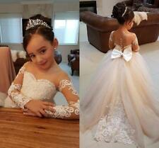 81fc708743f 2018 Vintage Flower Girl Dresses For Weddings Lace Bow Kids First Communion  Gown
