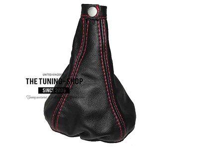 For Alfa Romeo Mito 08-17 Gear /& Handbrake Gaiter Black Leather Stitching Red