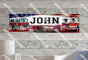 Personalized//Customized Fire Trucks Name Poster Wall Art Decoration Banner