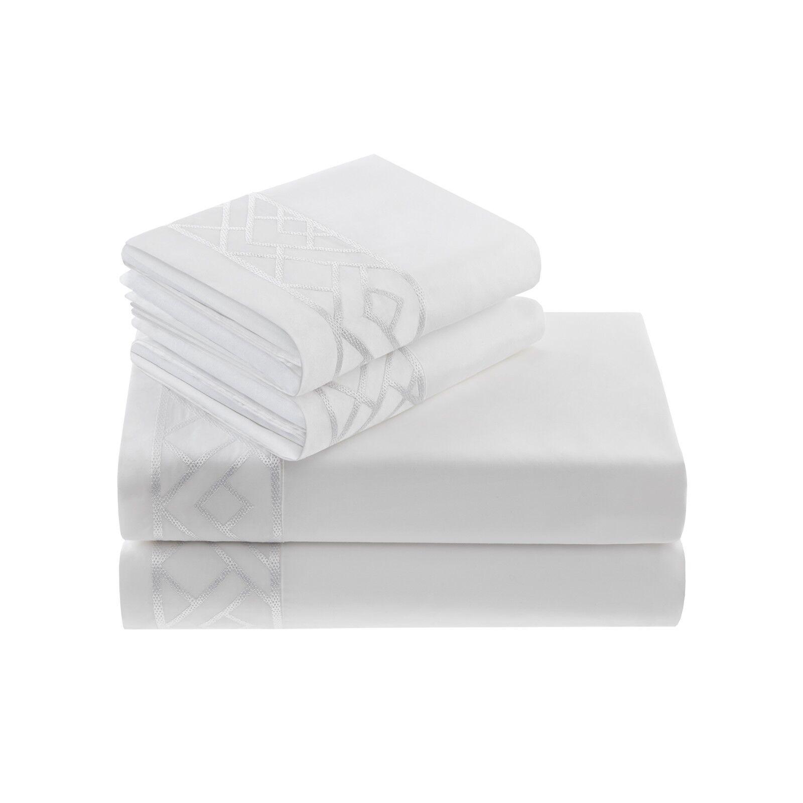 Natori tsuba geo cal-king Fitted Sheet White NA20-2464