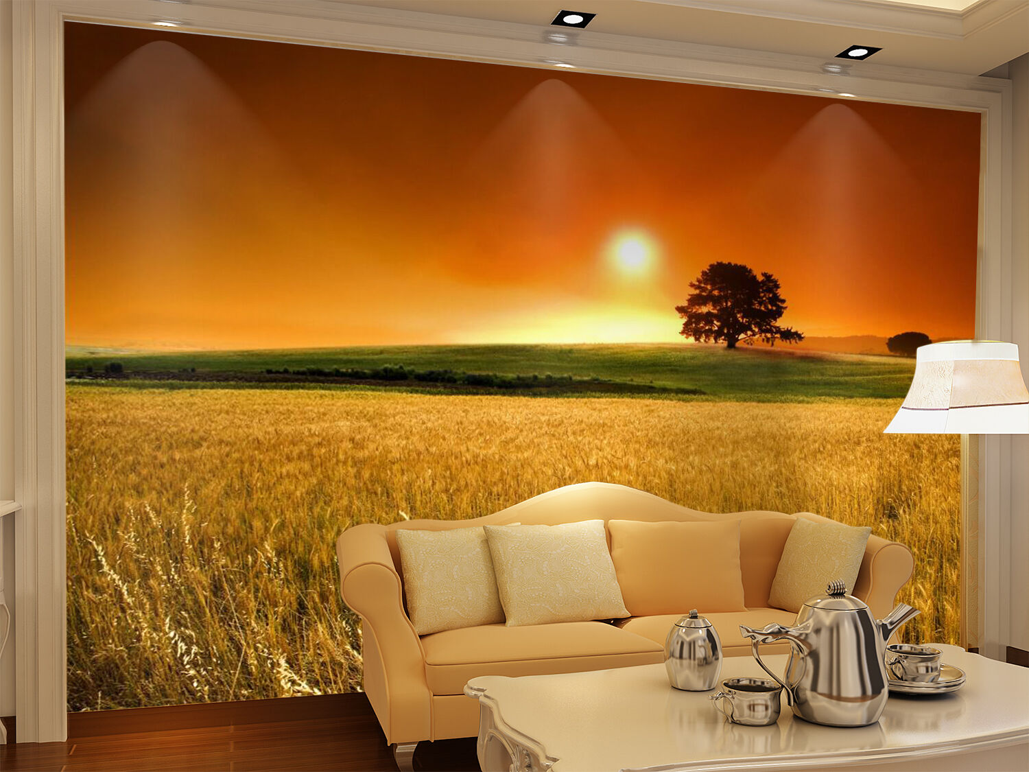 3D Beautiful Meadow Sunset 2 Paper Wall Print Wall Decal Wall Deco Indoor Murals