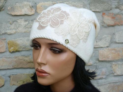 Mütze Strickmütze Wollmütze Wollhut mit edler Applikation mit Tüll Perlen