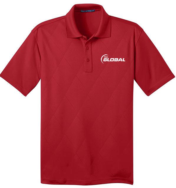 900 Global Men's Jewel Performance Polo Bowling Shirt Dri-Fit Argyle Regal Red