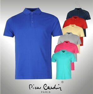 Mens-Pierre-Cardin-Plain-Polo-Shirt-Short-Sleeves-Top-Sizes-from-S-to-XXXXL