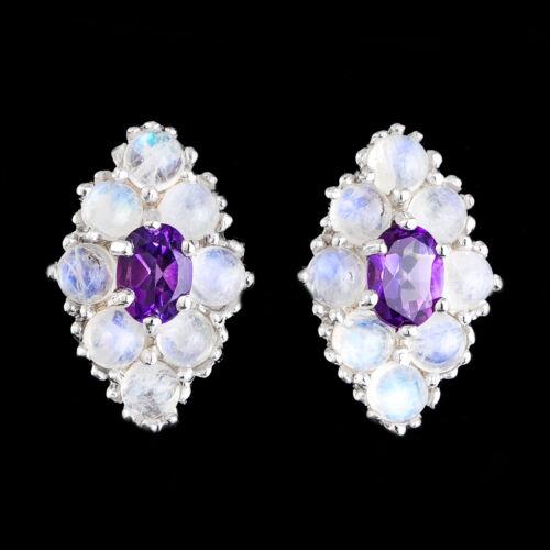 100/% naturel 7X5MM Afrique Améthyste /& Fire Bleu Moonstone silver 925 Earring