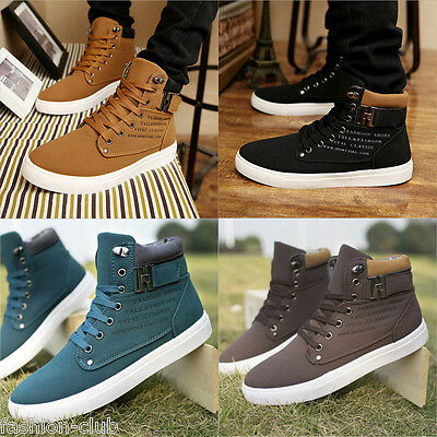 Fashion Men's Canvas Ankle Boots Winter Casual Martin Boots Lace-up Board Shoes