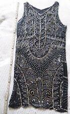 ANTIQUE Early 20th Century HANDMADE SILK SEQUINED Roaring 20's Black Dress HEAVY