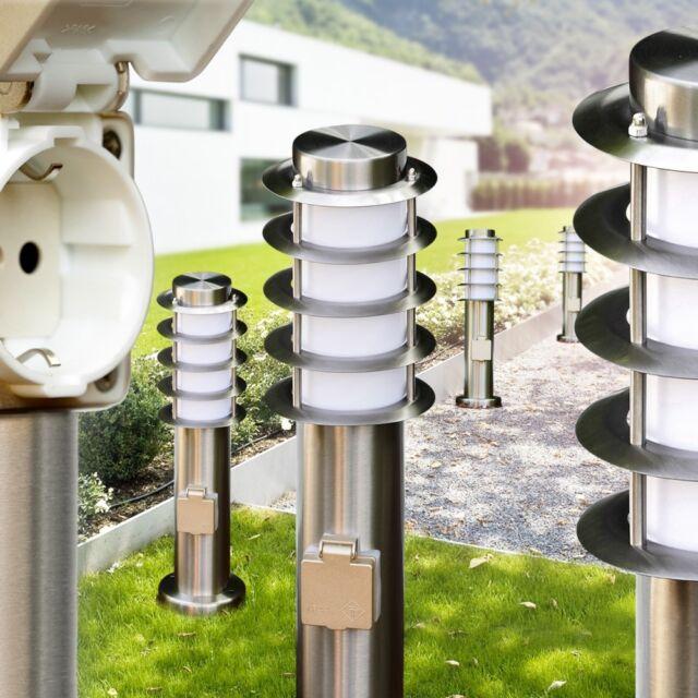 Sockelleuchte mit Steckdose Edelstahl Wege Lampe Garten Außen Steh Leuchten IP44