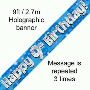 boys happy 9th birthday party foil banner 9 today decoration blue banners