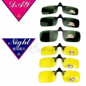 Polarized-Clip-on-Flip-up-Lens-Day-Night-Vision-Driving-Glasses-Sunglasses-New