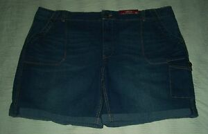 22W-SHORTS-CARGO-CASUAL-JEAN-WALKING-3X-MED-BLUE-TRAVEL-CRUISE-5-POCKET-22W