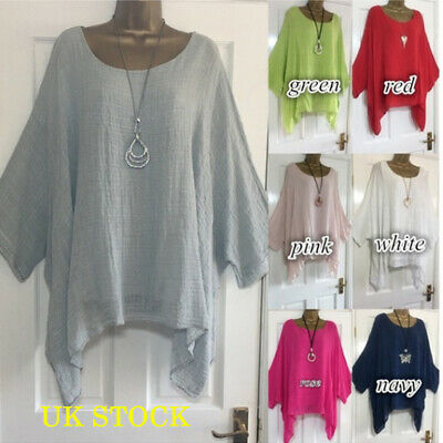 Plus Size Womens Long Sleeve Plain Jumper Tops Holiday Casual Loose Blouse 6-22