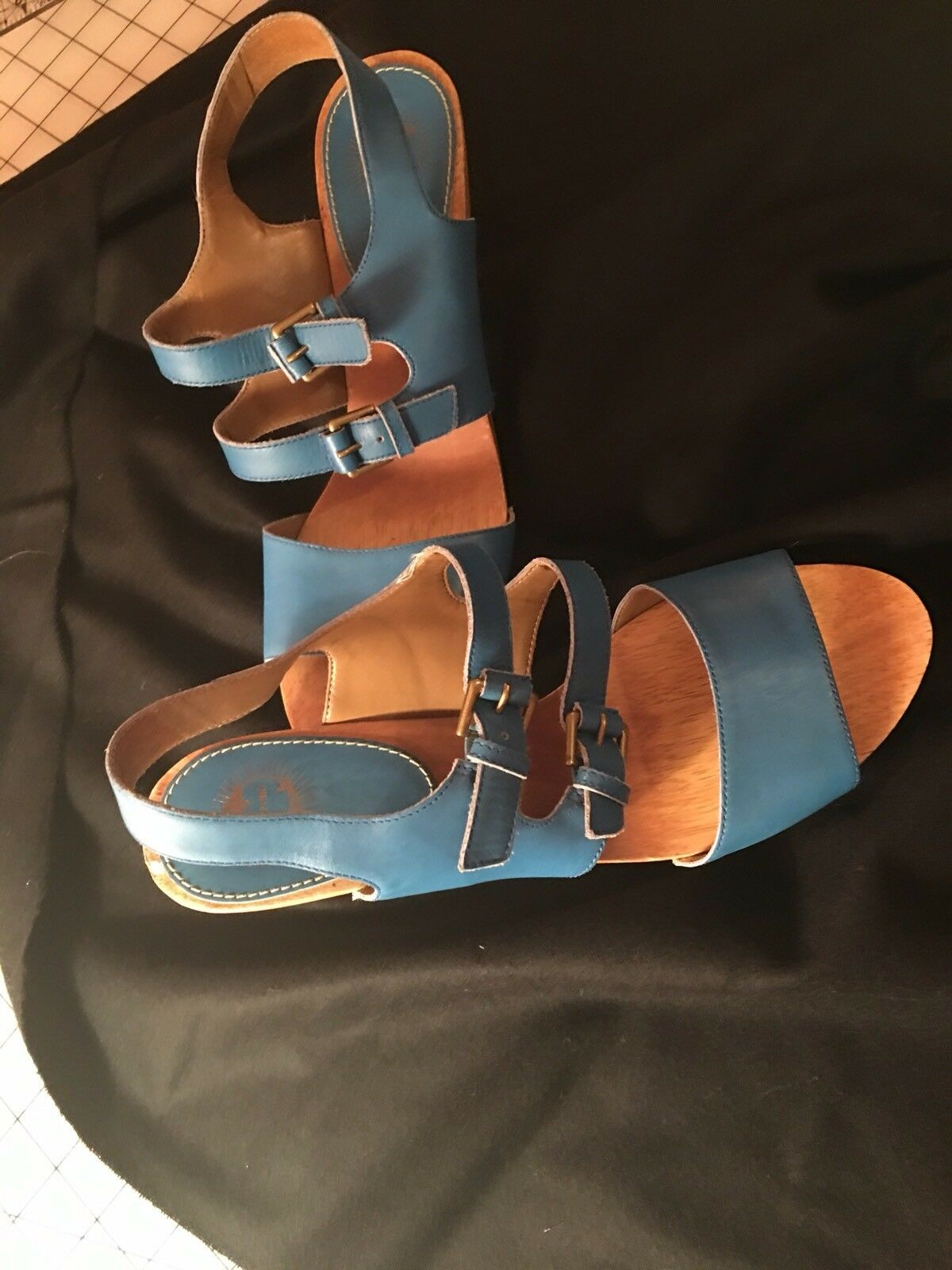 ANTHROPOLOGIE SVEABORG PICNIC CLOGS Blau LEATHER LUCKY PENNY Schuhe 10 B