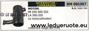 5460394 MARMITTA SCocheICO INTERMOTOR IM 250 300 350 LOMBARDINI LA 300 350 60mm