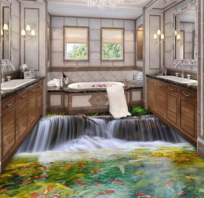3D Karpfen Fluss 45 Fototapeten Wandbild Fototapete Tapete Familie DE Lemon