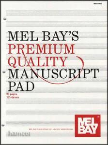 Mel Bay's Premium Quality Manuscript Pad Music Staff Douve Papier-afficher Le Titre D'origine