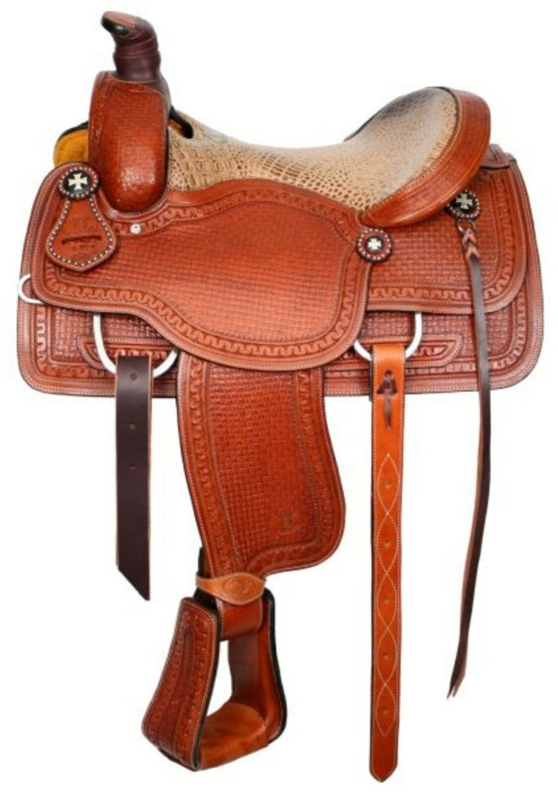 16  Circle S Western Roping Saddle W  Alligator Print Seat With Roping Warranty