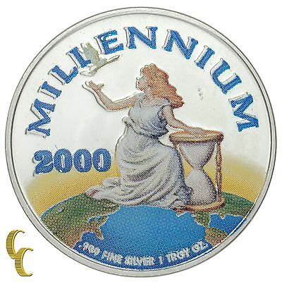Republic of Liberia Colorized Millennium 2000 Silver 1 Oz Coin .999
