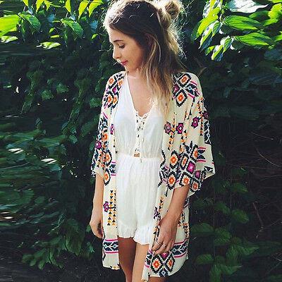 Women Kimono Summer Casual Coat Geometric Chiffon Shawl Cardigan Cover Up Blouse
