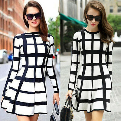 Elegant Womens Party Cocktail Winter Fall Casual Bodycon Striped Mini Dress Tops