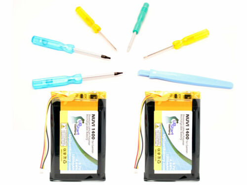 2-Pack Garmin Nuvi 1400 Battery with Tools Kit 1200mAh, 3.7V, Lithium Polymer