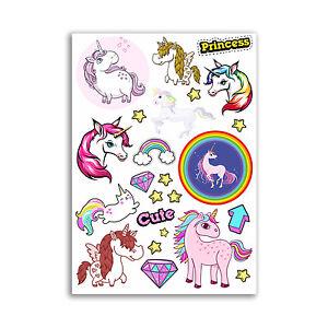 A4-Sheet-Unicorn-Vinyl-Stickers-Cute-Princess-Girl-Girly-Fun-10867