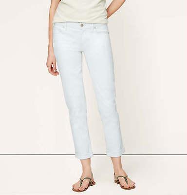 33//16P Ann Taylor LOFT Modern Cuffed Skinny Ankle Jeans Pants in White Sz 28//6