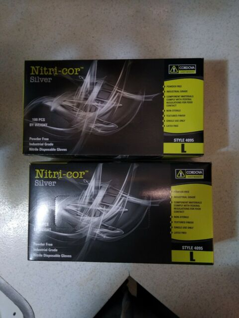 Cordova Safety Products 4095L Nitri-Cor Industrial Powder Free Nitrile Gloves Large
