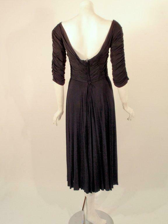CEIL CHAPMAN Black Ruched Cocktail Dress with 3/4… - image 3