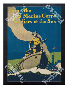 Historic-WWI-Recrutiment-Poster-U-S-Marine-Corps-Soldiers-of-the-sea-Postcard