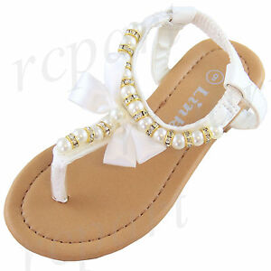 New girl s kids elastic sandals White bow pearl beads casual open ...