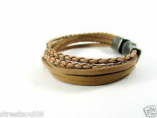 Streetsoul Multi Stranded Wrist Beige Leather Bracelet Wrist Band For Men.