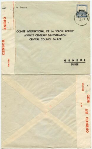 PALESTINE to RED CROSS GENEVA 2 TAPES RESEALED 1940 PRINTED ENV FRENCH JERUSALEM