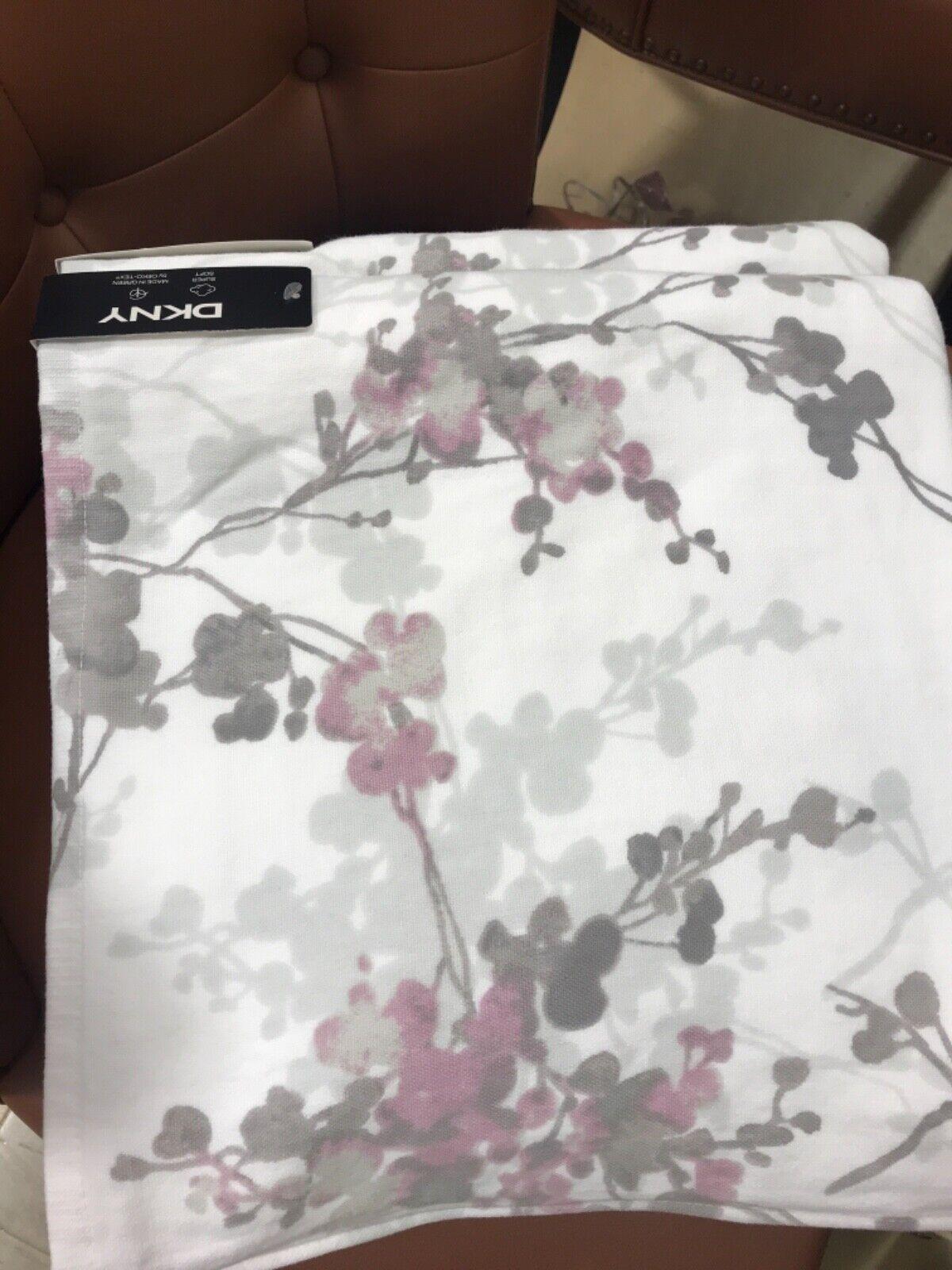 (5) DKNY Bathroom Gray Pink Watercolor Floral Bath Towels ~New~