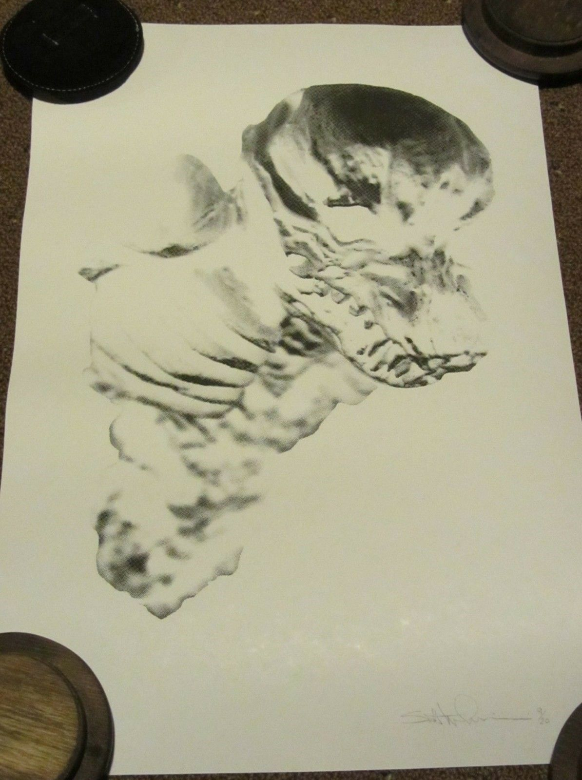 Print - SCOTT WILKOWSKI - INNER BEAST 19x12.5  - hand printed off-white paper