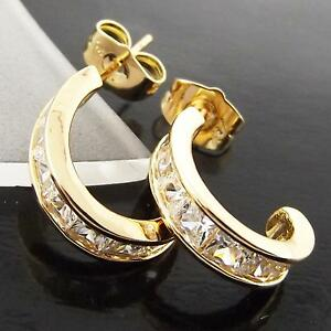 FS988-GENUINE-REAL-18K-YELLOW-GF-GOLD-SOLID-DIAMOND-SIMULATED-STUD-HOOP-EARRINGS