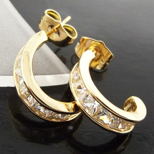 FS988 GENUINE REAL 18K YELLOW GF GOLD SOLID DIAMOND SIMULATED STUD HOOP EARRINGS