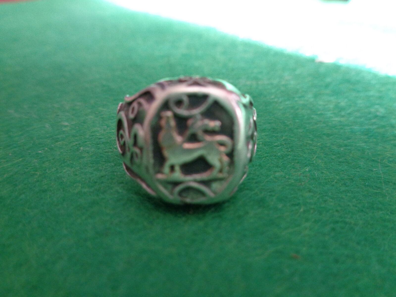 Antico Antico Antico anello in argentoo con stemma a90a16