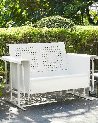 Patio Furniture Loveseat Glider.New Southern Style Bates Loveseat Glider White Patio Poolside Outdoor Furniture Ebay