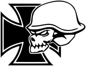 Aufkleber-Iron-Cross-Skull-Iron-Skull-Oldschool-Kult-Reto-24X31cm