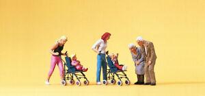 Preiser-10493-H0-034-Figurines-Mothers-Children-in-Stroller-034-New-in-Boxed