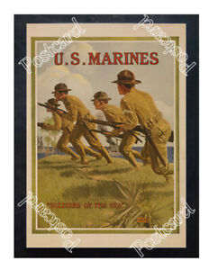 Historic-WWI-Recrutiment-Poster-U-S-Marines-Soldiers-of-the-sea-Postcard