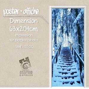 poster porte deco trompe l 39 oeil escalier foret neige st 20 4 dimensions ebay. Black Bedroom Furniture Sets. Home Design Ideas