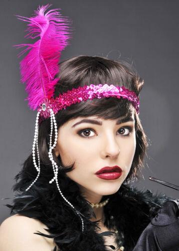 Womens 1920s Pink Feather Flapper Headband