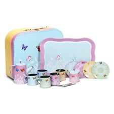Butterfly Tin Tea Set With Cups Saucers Tea Pot Tray Sugar Pot And Spoons